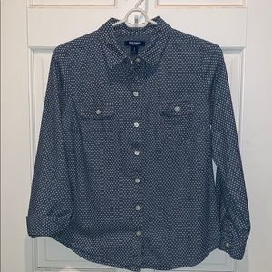 Old Navy Chambray Button down Pin Dot